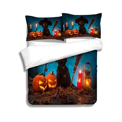 MTSJTliangwan Duvet Cover Set,Black Dog with Halloween Pumpkins on Wooden planks3 Piece Bedding Set with Pillow Shams, Queen/Full, Dark Orange White Teal Coral ()