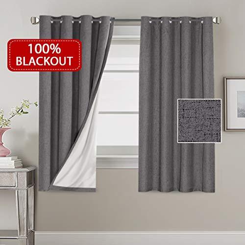H.VERSAILTEX 100% Blackout Linen Look Waterproof Grey Curtains for Bedroom Blackout Drapes 63 inches Long Grommet Window Treatment Curtain Draperies, 2 Panels (Gromet Curtains)