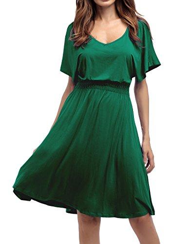 Sarin Mathews Womens Sexy V Neck Cap Sleeve Summer Casual Flared Midi Dress from Sarin Mathews