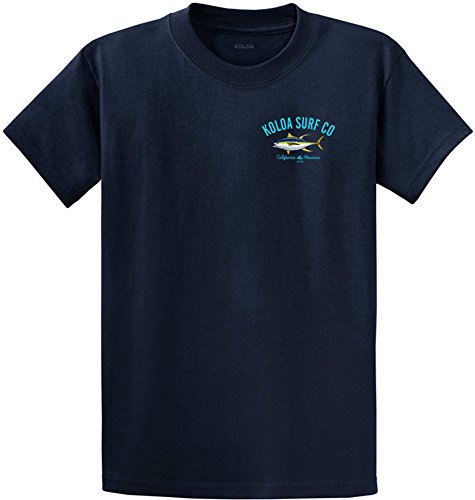 Joe's USA Koloa Surf Yellow Fin Tuna Logo Heavyweight Cotton T-Shirt-Navy/c-L (Cotton Cl)
