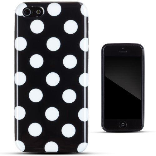 Zooky® Noir POLKA DOT TPU dur Coque / Étui / Cover pour Apple iPhone 5C