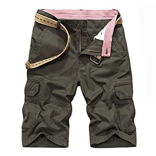 - Wadonerful Men's Outdoor Quick Dry Lightweight Sports Shorts Zipper Pockets Expandable Waist Cargo Shorts Green
