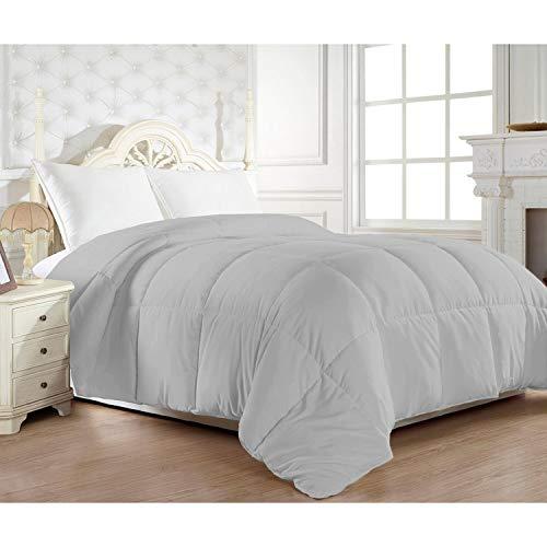- Elegant Comfort 1200 Thread Count Egyptian Cotton Down Alternative Double-Filled Comforter Grey Queen