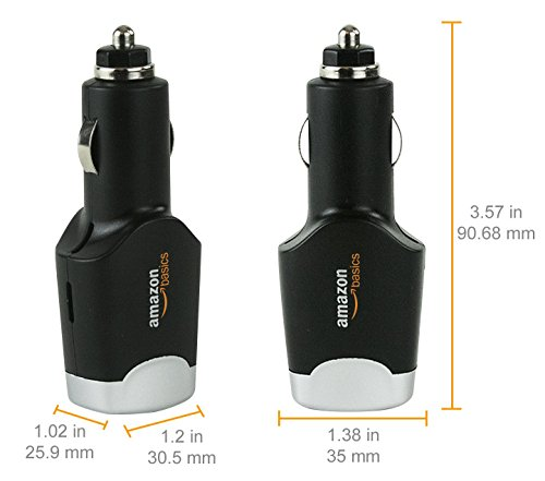 AmazonBasics 4.0 Amp Dual USB Car Charger for Apple & Android Devices - Black
