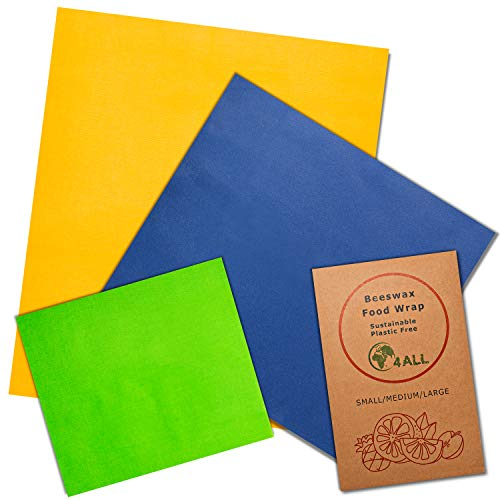 Beeswax Food Wrap 3 Pk - 3 Sizes and Colors Made of Organic Cotton. Wrap Sandwiches, Raw and Cooked Foods in Eco-Friendly, Sustainable Reusable Non-Plastic Wrappers