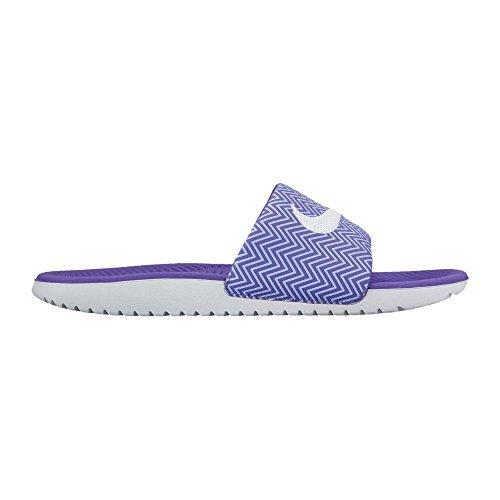 New Nike Women's Kawa Slide Print Dark Iris/White 6 (Sandals Print)