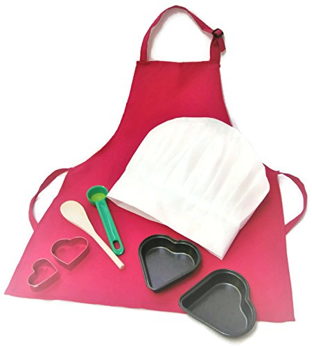 Baking Set For Kids Apron Chef Hat Heart Cutters (8 Inch Heart Shaped Cookie Cutter)