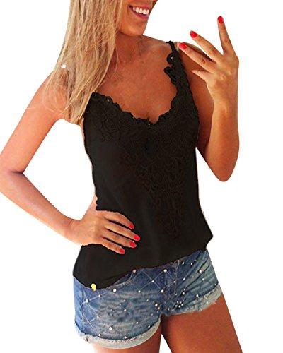 ZANZEA Women's Sexy Sleeveless Lace Croched Tank Tops T Shirt Blouse Camis Vest Black M=US 8