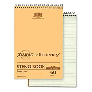 Ampad Spiral Steno Book, Gregg Rule, 6 x 9, Green Tint, 60 Sheets Per Notebook/Pack,(single)