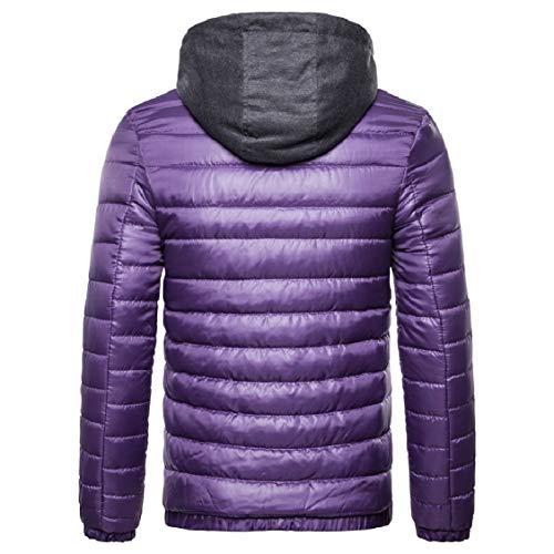 Comfort Thicken Hood Cotton Puffer Energy Jacket Purple Men's with Down Zips Solid 7pRqWEw