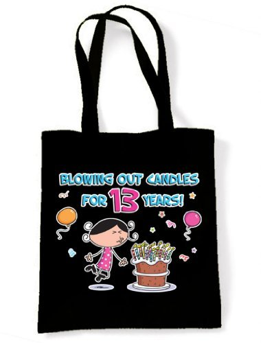 Blowing Out Candles for 13 Years 13th Birthday Tote / Shoulder Bag Black
