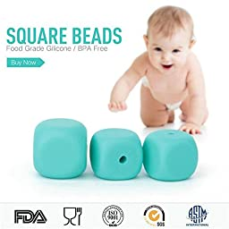 50PCS Random Mix 13MM Square Silicone Beads For DIY Teething Necklace&Bracelet Baby Food-Grade Silicone Nursing Beads