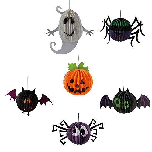 Pack of 6 Halloween Decorations Handing Paper Lanterns, Pumpkin, Bats, Spiders, Ghost