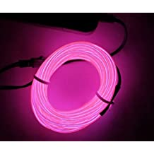M.best 3M EL Wire Tube Rope Battery Powered Flexible Neon Light Car Party Wedding Decoration With Controller ( Pink)