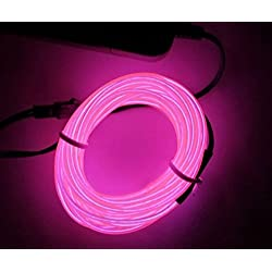 M.best 3M EL Wire Tube Rope Battery Powered Flexible Neon Light Car Party Wedding Decoration With Controller (Pink)