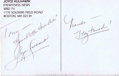 Joyce Kulhawik Signed 3 5X5 5 Photo Postcard Wbz Tv Boston
