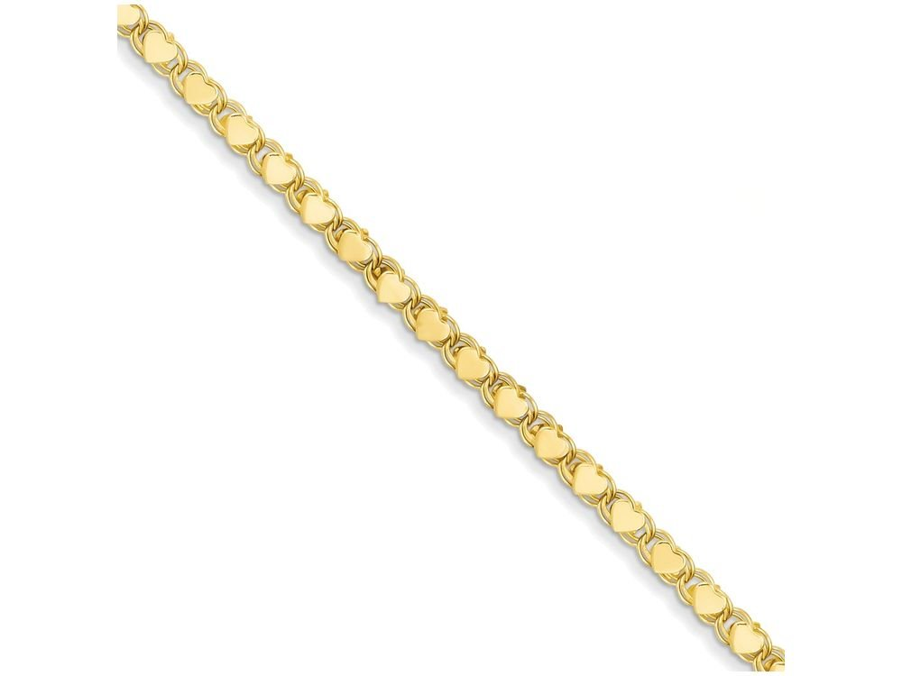 Finejewelers 10 Inch 14k Yellow Gold Polished Double-sided Heart Anklet