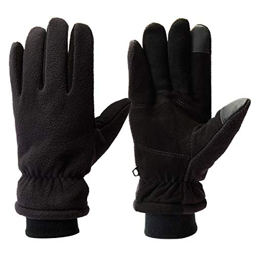 - Metog Unisex Winter Deerskin Suede Leather Touch Screen Mittens Fluffy Polar Fleece Windproof Warm Gloves Black M, Medium
