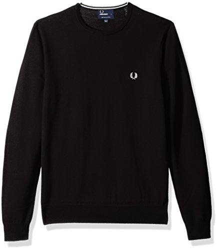Fred Perry Men's Classic Crew-Neck Sweater, Dark Chocolate, Large by Fred Perry (Image #1)