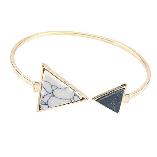 Bijoux LILICAT Bracelet douverture en turquoise asymétrique unique en géométrie ajustable Blanc Triangle