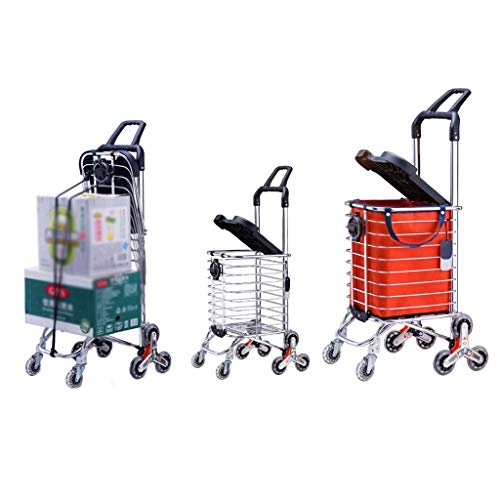 Shopper Thoughtful (YONGMEI Trolley Dolly Aluminum Alloy with Lid Shopping Grocery Lightweight Durable Quiet with Wheel Folding Hand Truck Load-Bearing100KG (Color : Silver))
