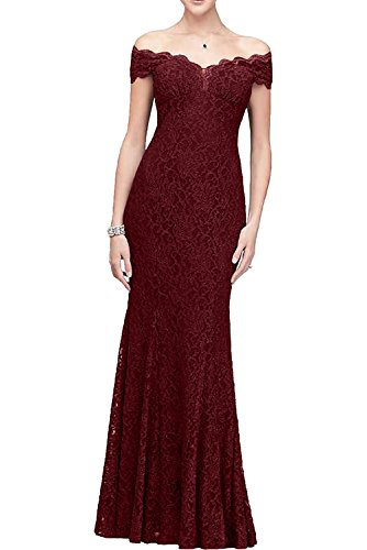 off Applikation Abendkleid Etui shoulder bodenlang Satin Promkleid kompliziert Weinrot aermellos Ivydressing Spitze the Ballkleid Damen ZnvPRwIxA