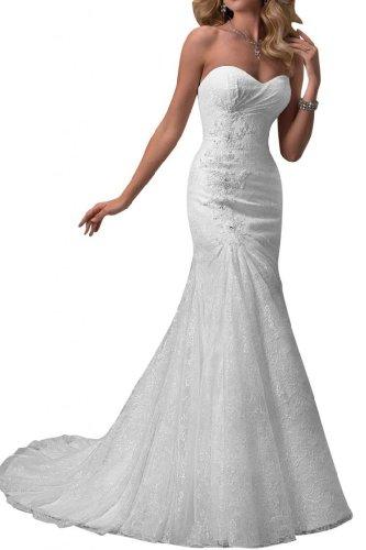 Robes De Mariée Sirène Ange De Mariée Dentelle Chérie Robes Longues Blanche