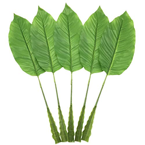 (5 Pack Tropical Leaves Fake Faux Artificial Plant Leaves Green Single Leaf Palm for Home Kitchen Party Supplies Tropical Leaves Decorations (23 inch) (Light green) )