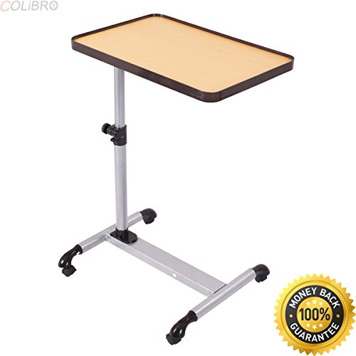 COLIBROX--Rolling Adjustable Overbed Table Laptop Desk Food Tray Hospital w/ Tilting Top. bedside rolling tray table. over bed workstation. adjustable rolling tray table. tv tray on wheels.