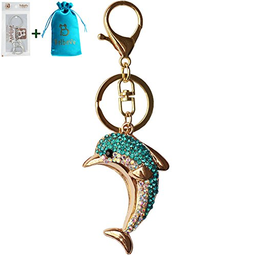 Bolbove Cute Dolphin Sparkling Charm Blingbling Keychain Crystal Rhinestone Pendant (Blue)