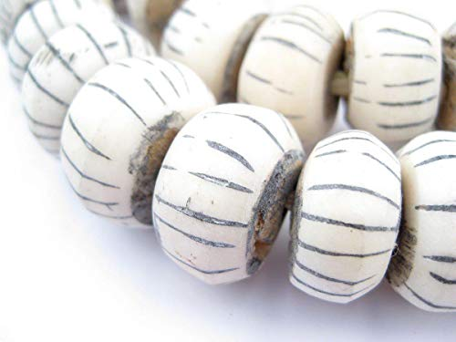 Carved White Bone Beads - Full Strand of Fair Trade Artisanal African Beads - The Bead Chest (Watermelon)