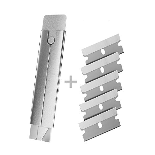 Bundaloo Box Cutter with 5 Refill Blades - for Cartons, Cardboard, Paper and Boxes - Open Packages Fast, Retractable Razor Blade- Safety Sliding Mechanism