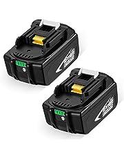 Powerextra 2 stycken ersättningsbatterier 18 V 5 500 mAh Li-ion batteri för Makita BL1815 BL1830 BL1840 BL1850