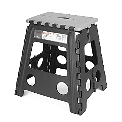 Acko 16 Inches Folding Step Stool for Adults and Kids Kitchen and Garden Step Stool Black Matching Grey Color