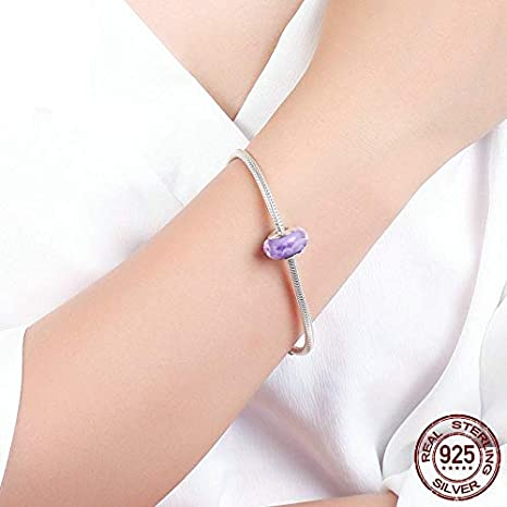 Calvas Fashion New 100/% Sterling Silver Glass Beads to Fit Charms Snake Bracelet Authentic 925 Silver DIY Charms Jewelry AK002 Color: White