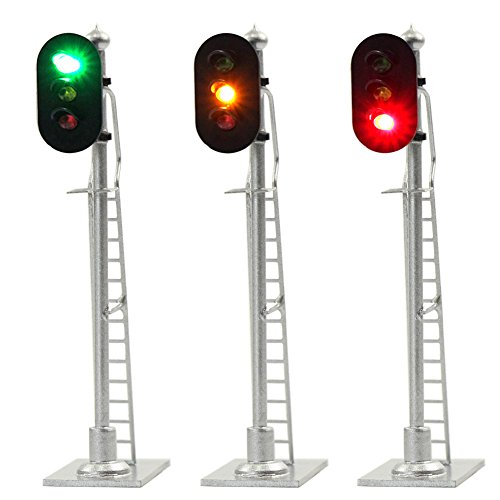 JTD873GYR 3PCS Model Railroad Train Signals 3-Lights Block Signal HO Scale 12V Green-Yellow-Red Traffic Lights for Train Layout New from Evemodel