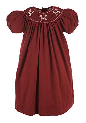 Carriage Boutique Girls Burgundy Short Sleeve Bishop Dress with Smocked Poodles -