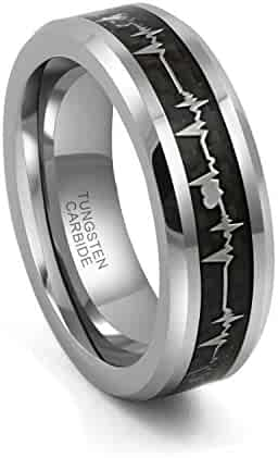 52e0cca035 8mm Tungsten Carbide Rings with Black Carbon Fiber Cardiogram Heartbeat  Design Comfort Fit Wedding Bands