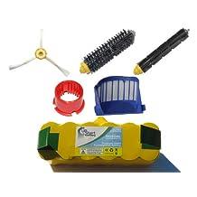 iRobot Roomba 650 Battery, Filter, Bristle Brush, Flexible Beater Brush , 3-Arm Side Brush and Brush Cleaning Tool - Kit Includes 1 Battery, 1 AeroVac Filter, 1 Bristle Brush, 1 Flexible Beater Brush , 1 3-Arm Side Brush and 1 Brush Cleaning Tool