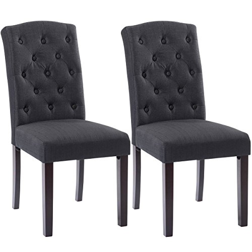 Giantex Set of 2 Linen Fabric Wood Accent Dining Chair Tufted Modern Living Room (Black Wood Dining Chair)