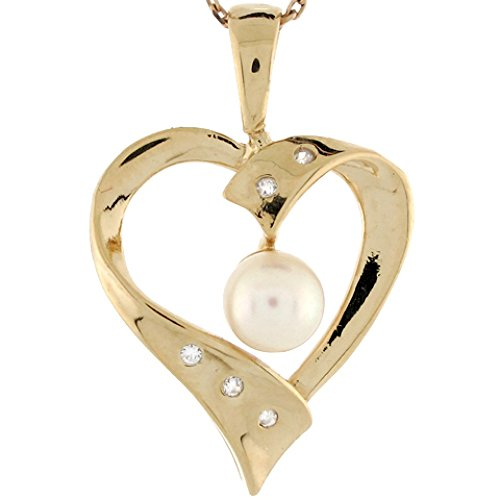 - Jewelry Liquidation 14k Yellow Gold Cultured Pearl Diamond Accent Floating Heart Ladies Pendant