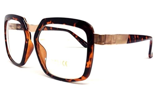 Brown & Gold Gazelle Square Sunglasses Clear - Style P Diddy