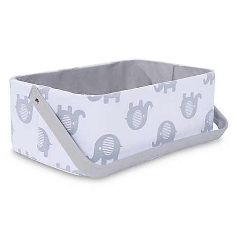 Taylor Madison Designs Elle Diaper Caddy in White/Grey (Taylor Stacker Diaper)