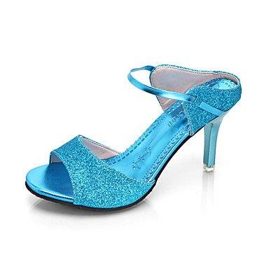 Outddor Stöckelabsatz LvYuan Blau blue amp; High Kunstleder Damen Silber T Gold Rosa Festivität Party Kleid Heels Riemen ggx 41v1UqI
