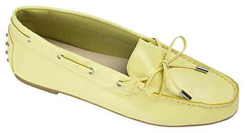 AnnaKastle Womens Colored Vegan Leather Driving Loafers Moccasin Shoes Yellow vaPG7