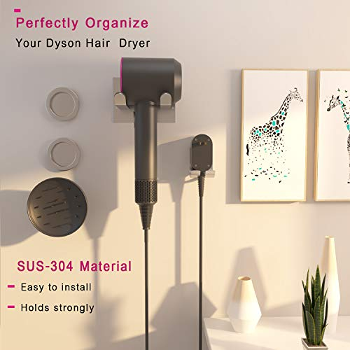 XIGOO Hair Dryer Holder, Self Adhesive Dyson Hair Dryer Wall Mount Holder Compatible Dyson Supersonic Hair Dryer, Brushed, 304 Stainless Steel, Power Plug, Diffuser and Nozzles Organizer by XIGOO (Image #3)