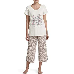 HUE Women's Printed Knit Short Sleeve Tee and Capri 2 Piece Pajama Set