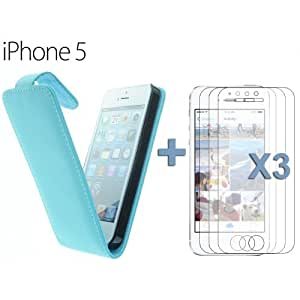 OnlineBestDigital - Premium Leatherette Wallet Stand Case for Apple iPhone 5S / Apple iPhone 5 - Blue with 3 Screen Protectors