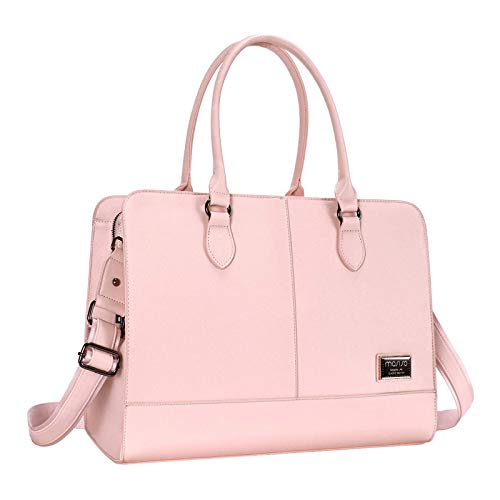 MOSISO Women Laptop Tote Bag (Up to 15.6 inch) 3 Layer Compartments,Rose Quartz