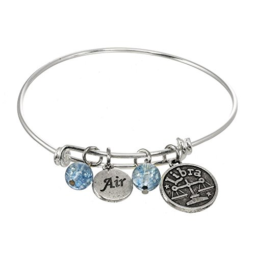 Air Element Zodiac Adjustable Bangle Charm Bracelet (Libra Sign)